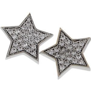 Cubic Zirconia Pavé Star Earrings, NWT